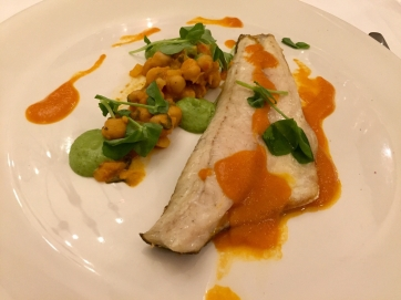 Beautifully presented food - sea bass