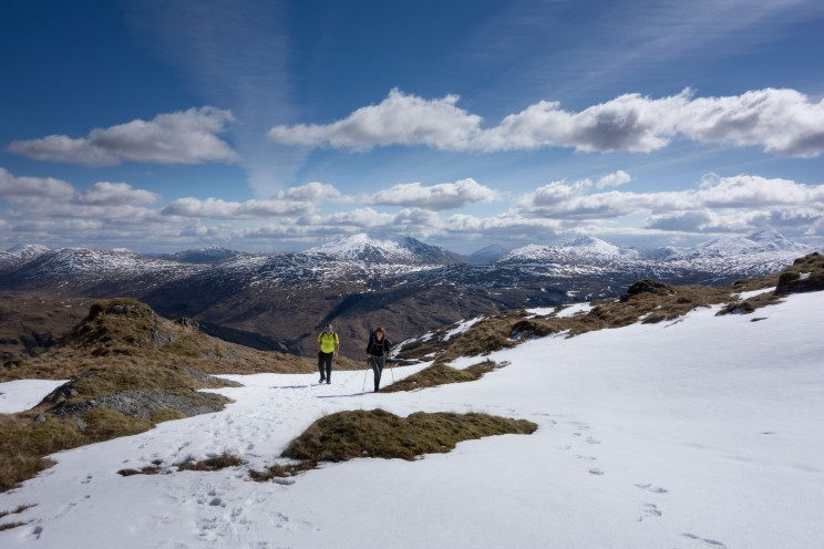 Snowy Beinn Bhuide with spectacular views all around