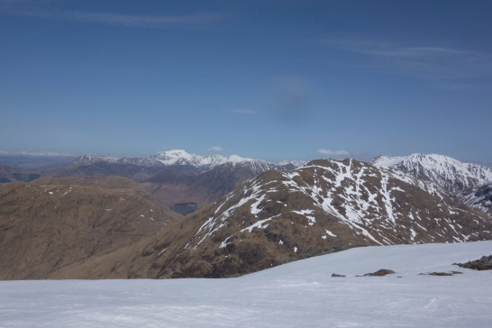 Views from Beinn Fhionnlaidh, Ben Nevis at the rear