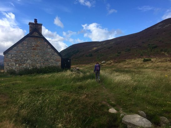 Ryvoan Bothy looking up to Meall a' Bhuachaille