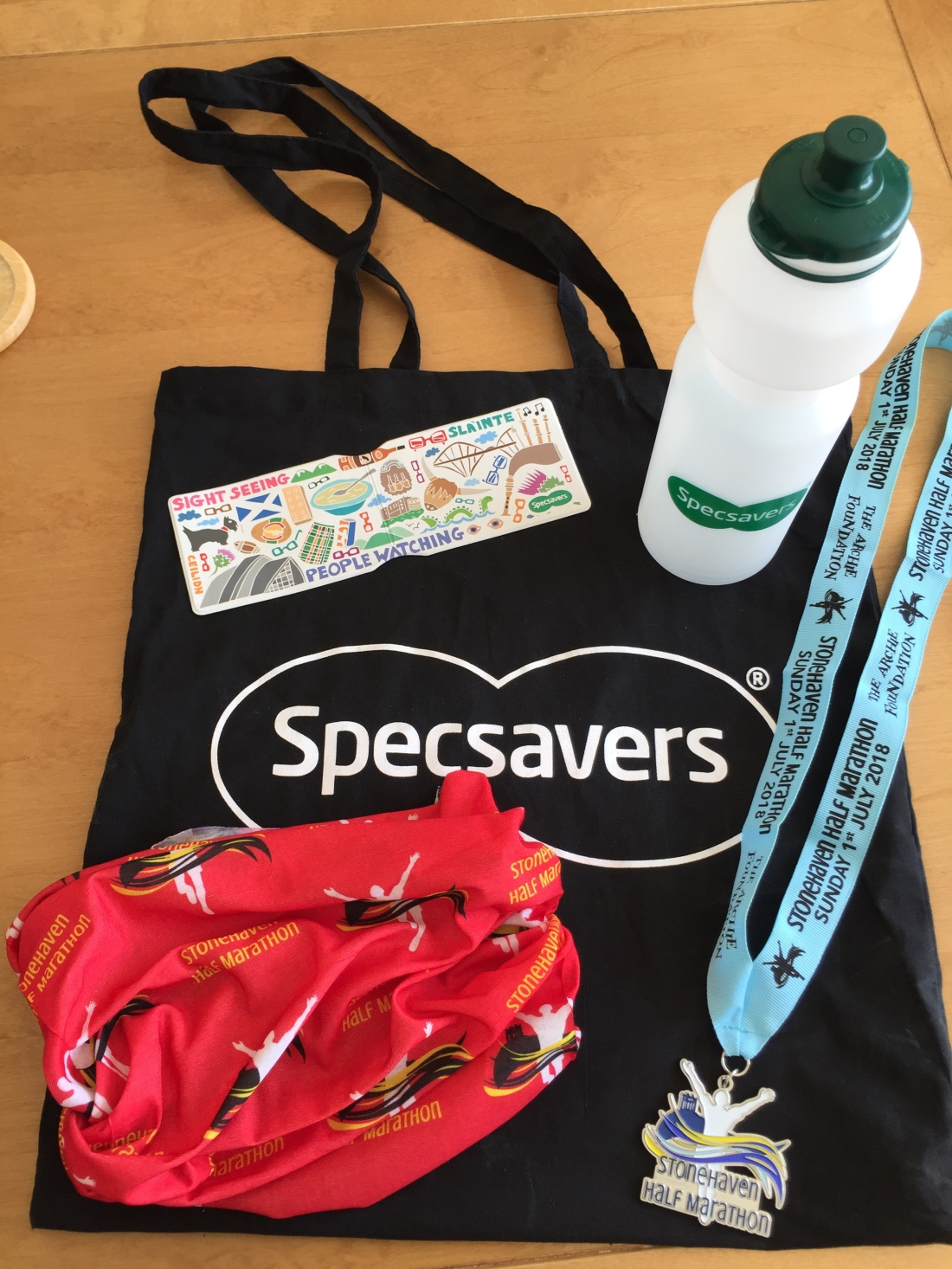Lovely medal & you can never have too many buffs! Thanks also to Specsavers for their goodies.
