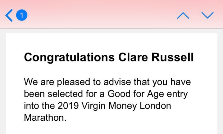 Virgin London Marathon Good for Age Confirmation