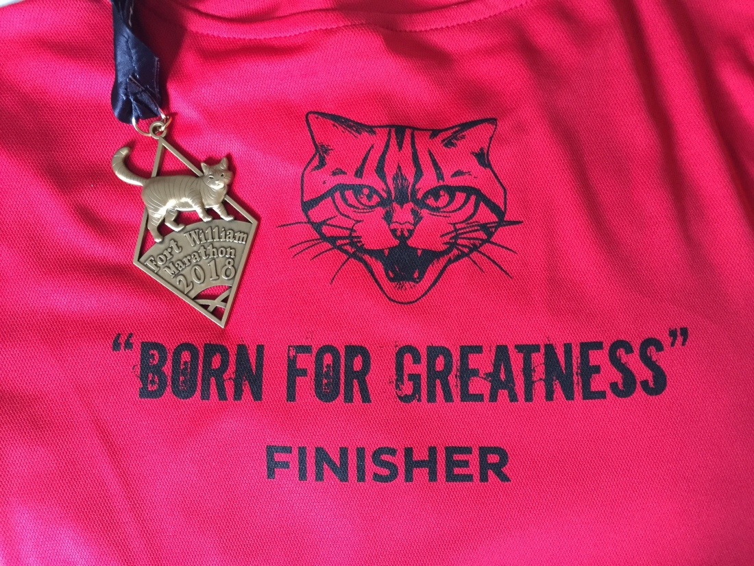 2018 Fort William Marathon Finisher's T-shirt and Medal
