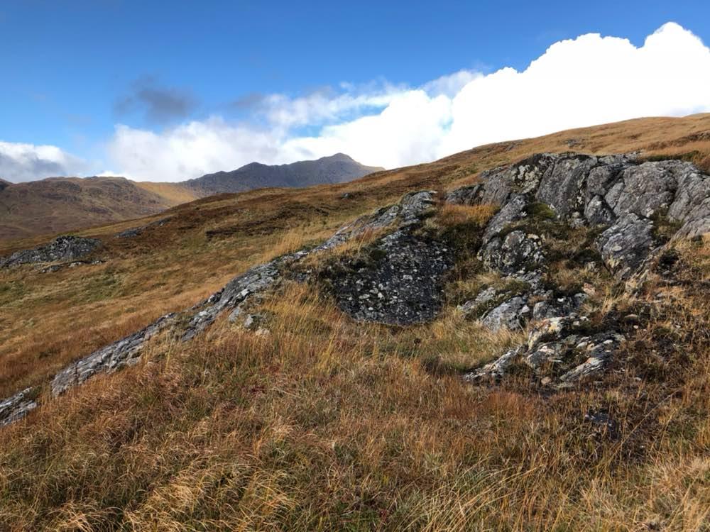 Sgurr a'Mhaoraich, first glimpse from the path up