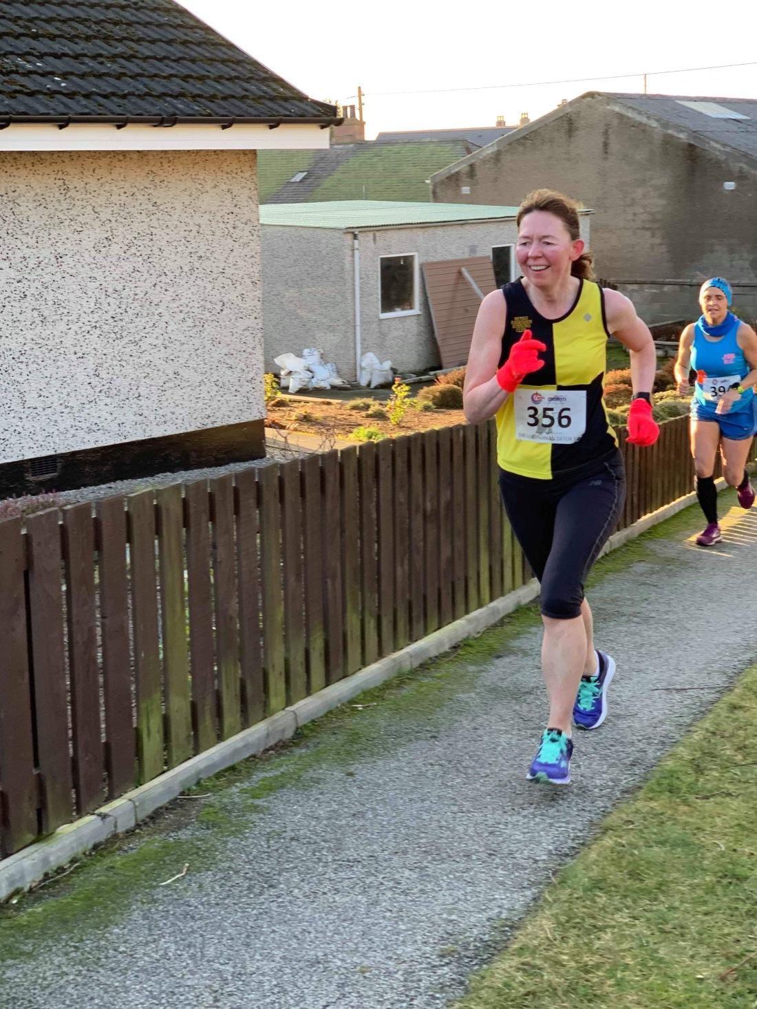 Heading towards the finish area at Lumphanan Detox 10k