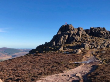 Bruce atop the granite tor on Clachnaben