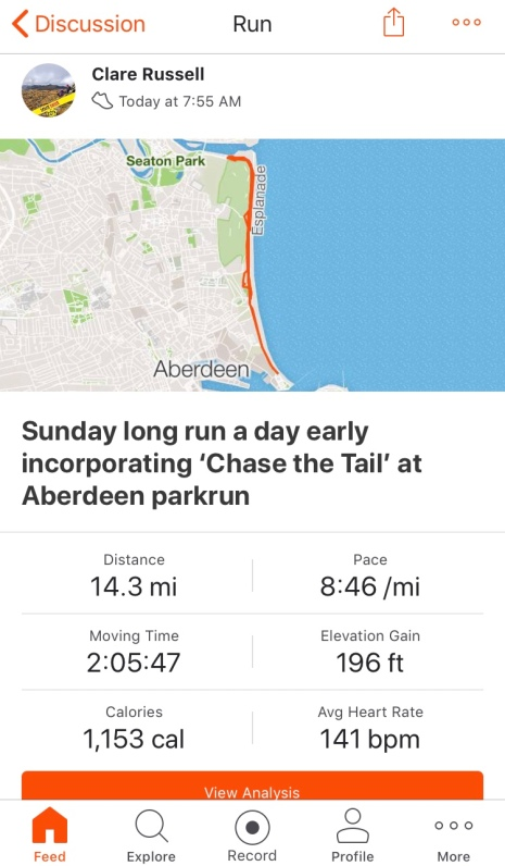 Long run incorporating Aberdeen parkrun