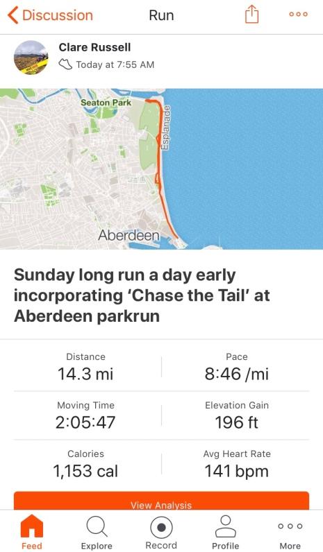 Long run incorporating Aberdeen parkrun