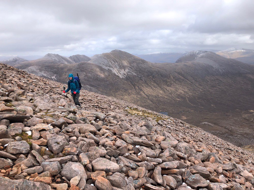 Heading up the bouldery path at Maol Chean-dearg