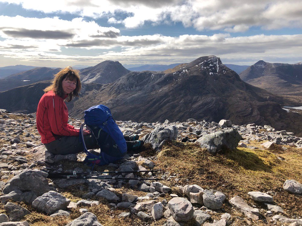 Snack stop near the summit of Sgorr Ruadh overlooking Maol Chean-dearg