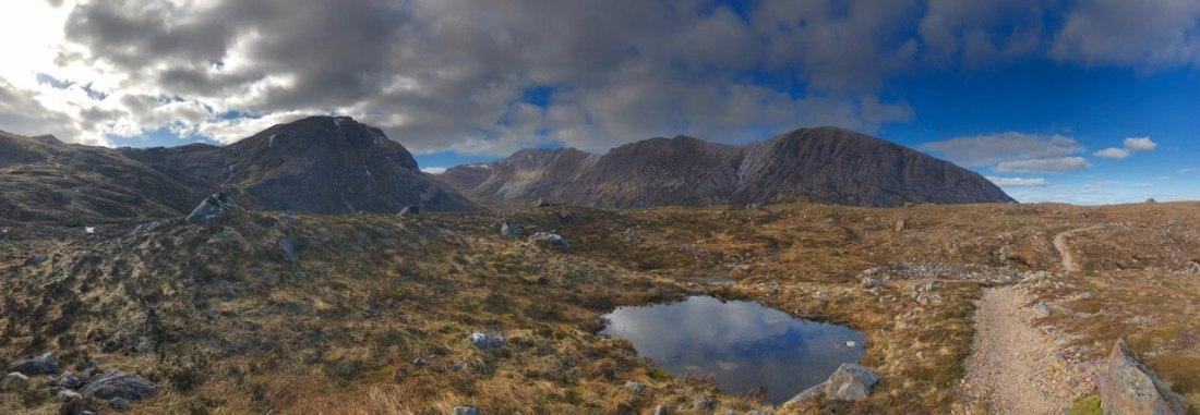 Panoramic view of Sgorr Ruadh and Beinn Liath Mhor