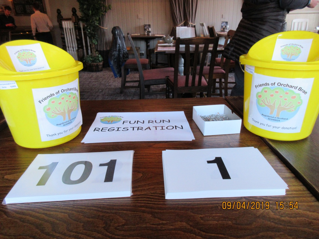 Ready for the deluge of runners: Friends of Orchard Brae Fun Run Registration at Brig O'Don Restaurant