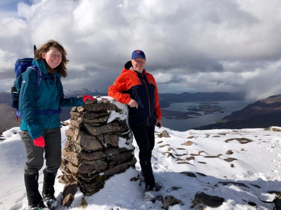 Trig point on Slioch; the true summit cairn is further along