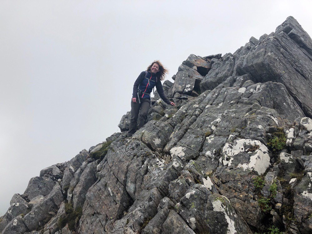 Heading down from the summit of The Saddle