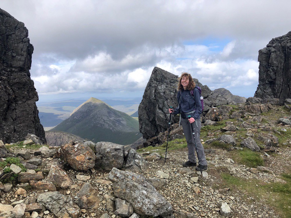 Before the final ascent of Bla Bheinn with Marsco peeping through