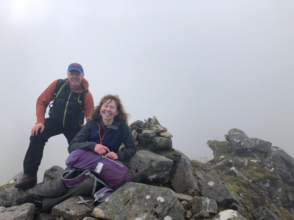 Summit cairn on The Saddle - remarkably small summit; I was not moving from my seat!