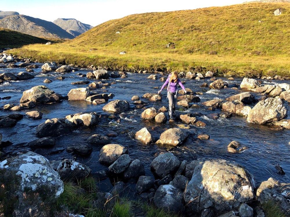 Abhainn a'Ghrabainn crossing on the way back from Am  Faochagach