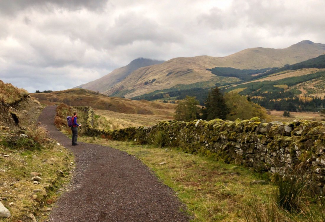 Newly laid section of trail on West Highland Way