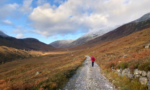 Heading along the West Highland Way above Kinlochleven, on route to Fort William